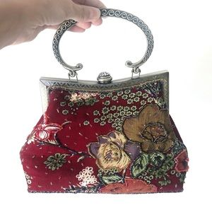 Vintage Red Floral Beaded Mini Purse